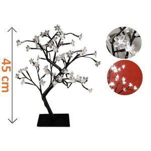 Dekoratívny LED strom s kvetmi - 45 cm, studená biela