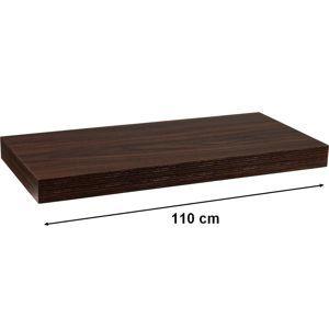 Nástěnná police STILISTA VOLATO - tmavé dřevo 110 cm