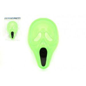 Maska svítící ve tmě plast v sáčku 18x30cm karneval
