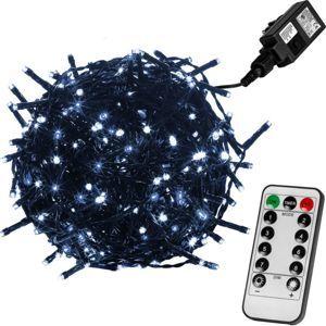 Vianočné LED osvetlenie 5 m - studená biela 50 LED + ovládač - zelený kábel