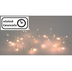 LED osvetlenie strieborný drôt - teple biely, 20 LED