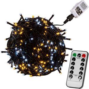 Vianočná reťaz 40m - teple/studeno biela 400 LED + ovládač