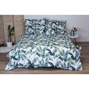 Bavlnené posteľné obliečky 3-dielne Dita - LIsty zelené