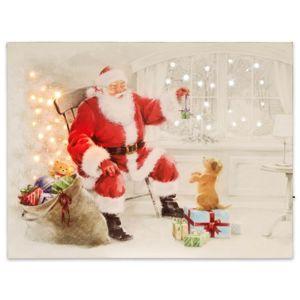 Nástenná maľba Santa Claus so psíkom, 40 LED, 30 x 40 cm