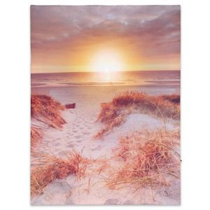 Nástenná maľba západ slnka na pláži, 1 LED, 30 x 40 cm