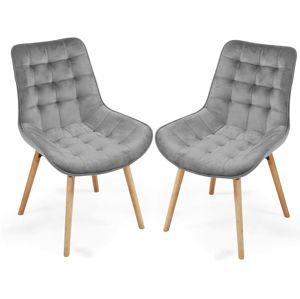 Sada prešívaných jedálenských stoličiek, sivé, 2 ks