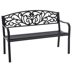 Záhradná kovová lavička v starožitnom štýle, 127 x 86 cm
